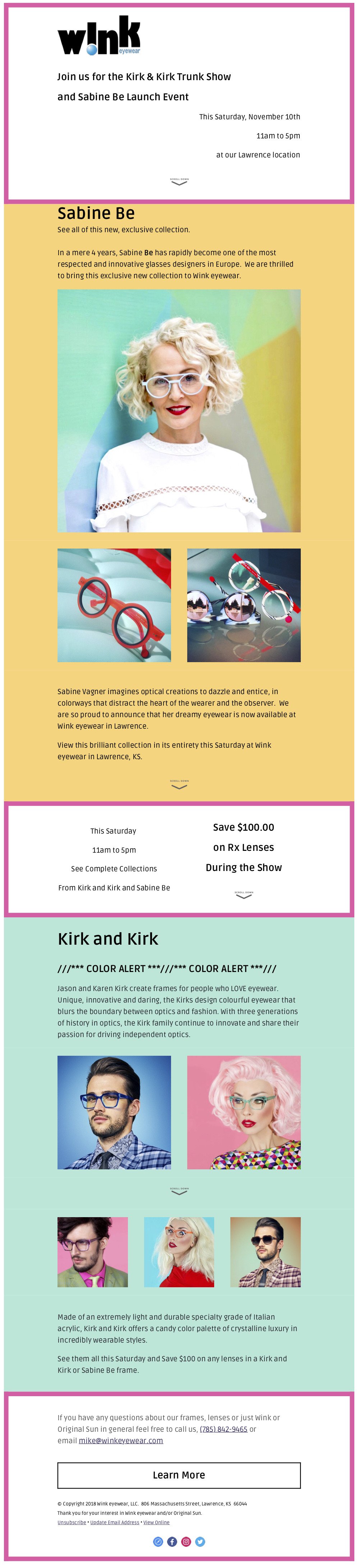 9983ab2145 The Kirk Kirk Trunk Show And Sabine Be Launch Event at Wink eyewear